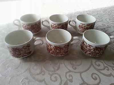 CHURCHILL ENGLAND 6 piece Brown and White cups