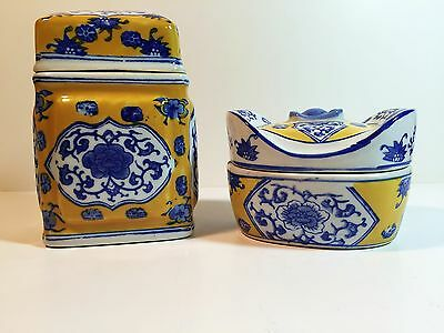 Vtg Three Hands Corp Blue Yellow White Porcelain Covered Square Jar & Candy Dish