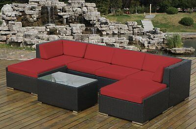 Ohana Outdoor Patio Wicker Furniture Deep Seating 7pc  Set -Red