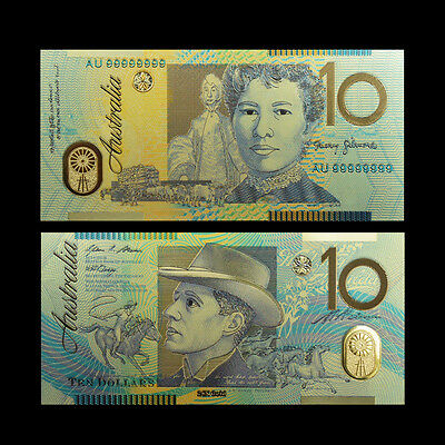 24Kt Gold Limited Edition Coloured Australian $10 Polymer Bank Note
