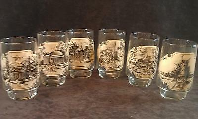 Set of 6 Coke Coca Cola Heritage Collector Series Glasses Famous Places