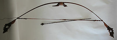 Hunting bow & arrow spear old vintage used ornate wood hand made small animals