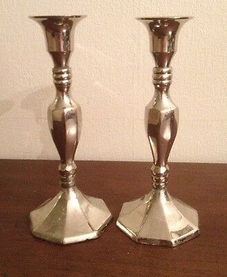 Vintage Pair Silverplate Over Solid Brass Candlestick Candle Holders Church