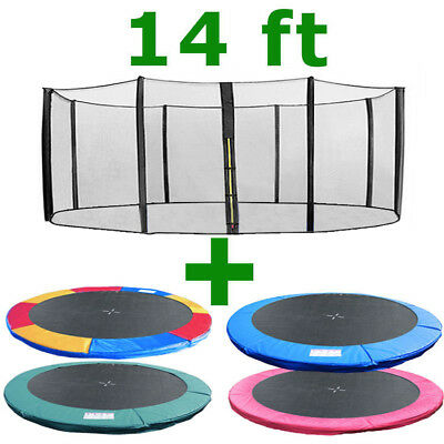 14 Ft Trampoline Replacement Safety Net Padding Spring Cover Pad Enclosure