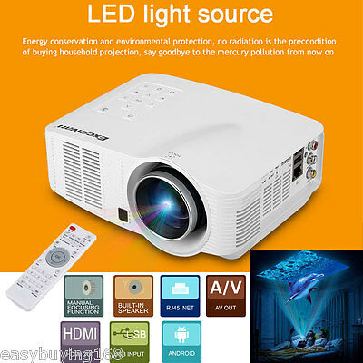 1080P HD Android WiFi Wireless LED LCD Video Projector Home Theater USB HDMI AV