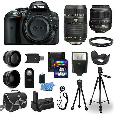 Nikon D5300 Digital SLR Camera Body + 18-55 VR + 70-300mm + Battery Grip Bundle
