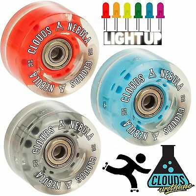 Clouds Nebula Light up Flashing Wheels With Bearings for Roller Skates -Set of 4