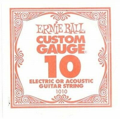 Ernie Ball Electric or Acoustic Guitar String, Single Custom Gauge 10