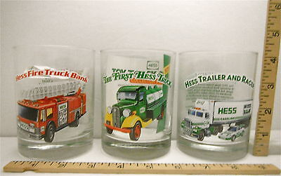 1996 Hess Gas Truck Glasses Set of 12 Tumblers 3 Each Design