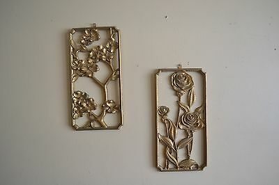 SET OF TWO Syroco Wood Syracuse Ornamental Co. Decorative Wall Art Hanging Gold