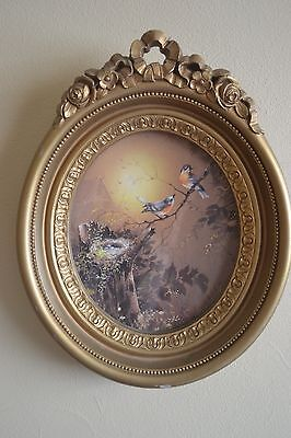 Homco Blue Bird Oval Picture With Gold Frame Ornate Gold AND Wall pocket Planter