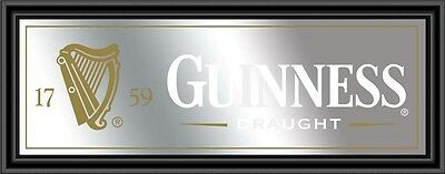 Guinness Beer Framed Pub Mirror Black Frame 32 X 12
