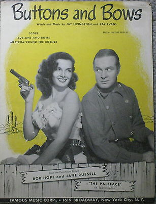 VINTAGE SHEET MUSIC BUTTONS AND BOWS BOB HOPE JANE RUSSELL THE PALEFACE 1948