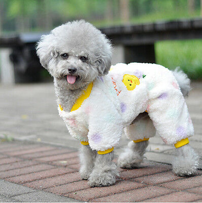 #10 WINTER WHITE FOUR FEET DOG CLOTHES PUPPY CKICKEN  SMALL SIZE TEDDY COAT