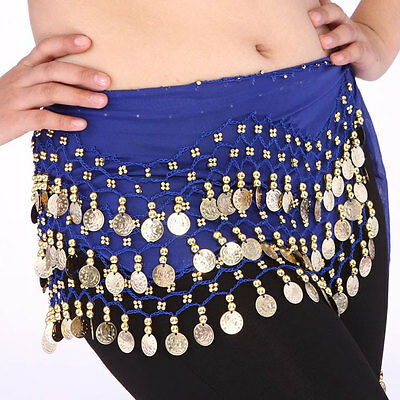 Hot 3 Rows128 Silver Coins Belly Dance Hip Scarf Belt Waist Chain Blue C-09
