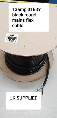 3183Y 3 CORE 13 AMP 1.5mm ROUND BLACK MAINS ELECTRICAL CABLE FLEX WIRE PER METER