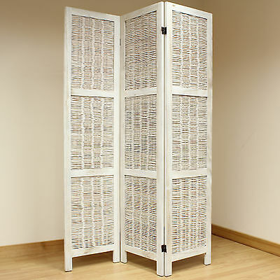 Cream 3 Panel Wood Frame Wicker Room Divider Privacy Screen/Separator/Partition