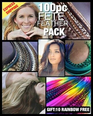Feather Hair Extensions Naturals Grizzly Colour Mix 100 Pack 10Free EXPRESS SHIP