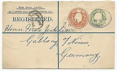 Great Britain H&G #383 Registered Postal Stationery Cover August 10, 1906