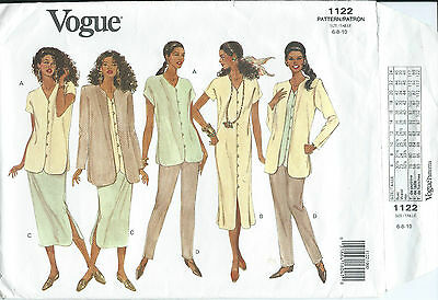 Vogue 1122 sewing pattern JACKET DRESS TOP SKIRT PANTS sew EASY chic size 6,8,10