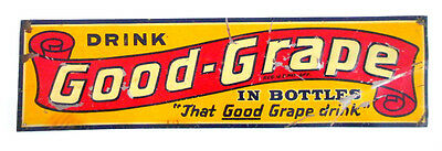 ca1930s GOOD GRAPE TIN LITHO ADVERTISING SIGN soda COLA embossed