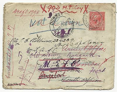Great Britain Scott #160 on Cover w/ Transit Cancels September 11, 1917