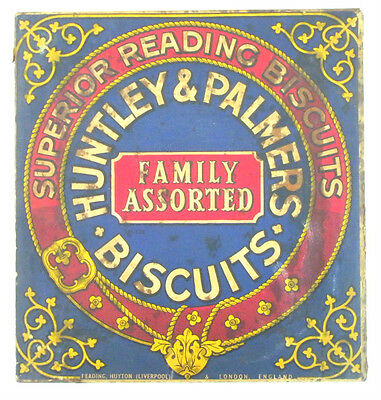 ca 1920's HUNTLEY & PALMERS BISCUIT LITHO TIN roses ANTIQUE gift BOX advertising
