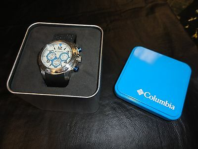 NICE COLUMBIA CA004-045 Mens Transit Chronograph Sports Black Rubber Steel Watch