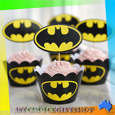 Dc Comics Batman Cupcake Wrappers & Toppers Pack Of 12 Birthday Party Supplies