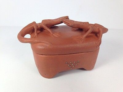 Clay Pottery with 2 Lizards on the Lid with Pressed Metal Studs in the Piece