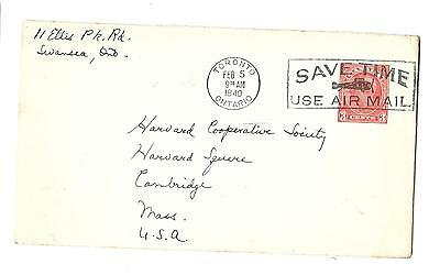 CANADA #U53 - SAVE TIME USE AIRMAIL SLOGAM CANCEL - TO US - 1940