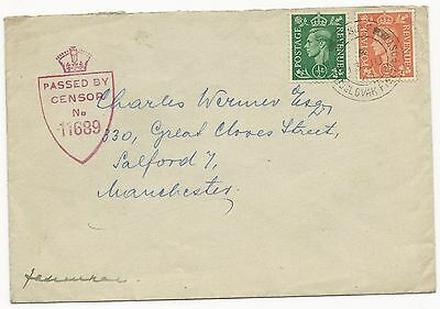 Great Britain Scott #258, 261 on Censored Cover Czechoslovakia to UK 1944