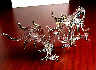 DRAGON hand blown ART GLASS figurine miniature - GIFT myth animal collection