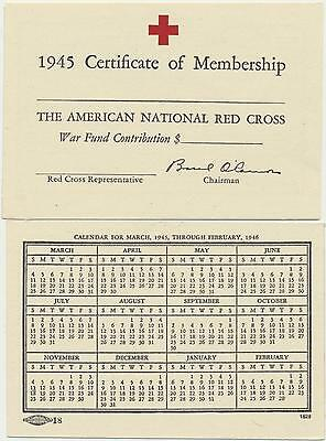 1945 American Red Cross Certificate of Membership Certificate Mint Condition