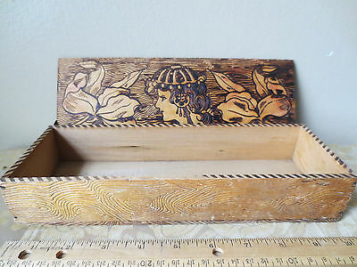 """Antique Victorian Wooden Glove Box Intricate Engraving Lady 10 1/8"""" x 3 1/2"""""""