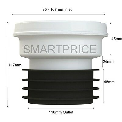 """Toilet WC Pan Connector Straight 110mm 4"""" Outlet. VIVA EASI-FIT TOP QUALITY"""