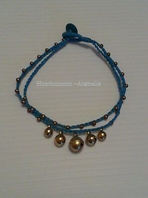 Handmade Hippy Jingle Bell Anklet Bracelet - Blue