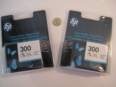 2 x  BOXED SEALED  HP 300 TRI-COLOUR PRINTER INK PACKS