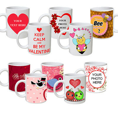 Valentine's Day Personalised Gift Idea COLOURED Mug Coffee Cup Custom Photo Text