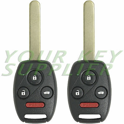 2 New Uncut Honda Civic Remote Key Fob Keyless Entry Replacement Transmitter