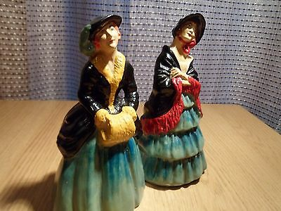 vintage pair of victorian hand painted  staffordshire pottery ladies