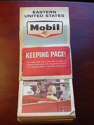 1965 Bundle Of Mobil Eastern + Central & Western States Road Maps, 28 Maps