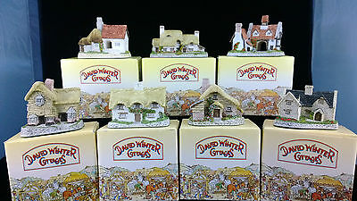 David Winter Cottages, Set of 7, Drovers, The Dower House, Cotswold, The Pottery
