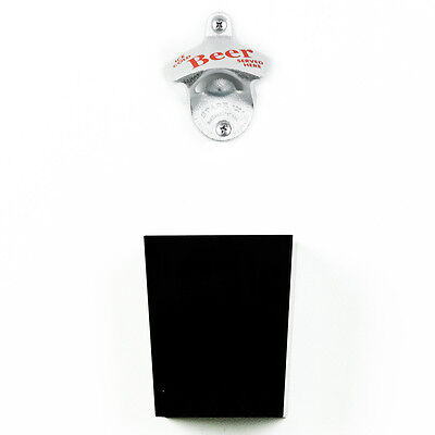 """ice Cold Beer"" Wall Mounted Bottle Opener & Black Cap Catcher With Screws"