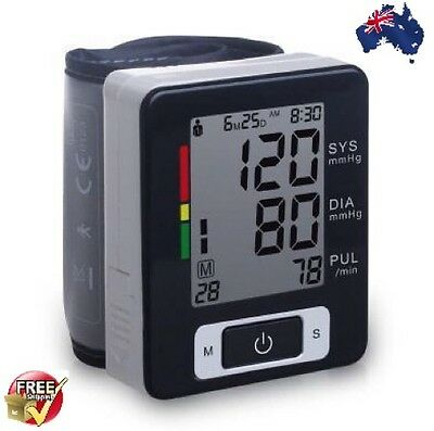 Automatic Digital Wrist Blood Pressure Upper Monitor Heart Beat Meter LCD Screen