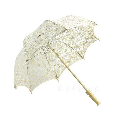 For Bridal Wedding Decoration Beige Lace Parasol Umbrella Embroidered