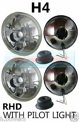 "7"" Crystal Classic Car Sealed Beam Headlamps Headlights Halogen H4 Conversion"
