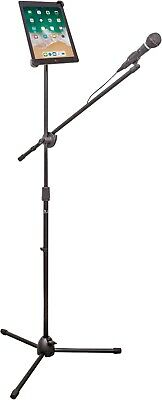NJS Black Microphone Mic Adjustable Boom Arm Tripod Stand + Tablet Holder #067E
