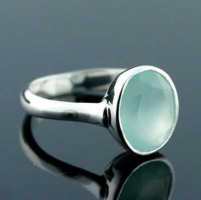 Modern 925 Sterling Silver Faceted Aqua Blue Green Calcite Oval Ring Size 8