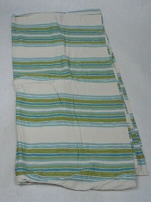 "Target Home 100% Cotton 70"" x 67"" Tan Blue Green Striped Shower Curtain"